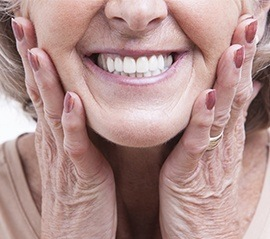 Closeup of older woman's smile