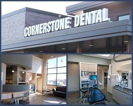 Collage of Cornerstone Dental office images