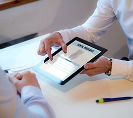 Dental insurance forms on tablet computer